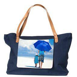 Strandtas met foto - blauw